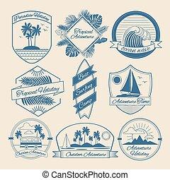 Set of Vintage Outdoor Adventure Badges