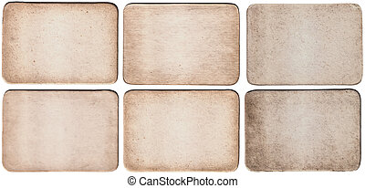 Set Of Vintage Paper Card Texture On White Background