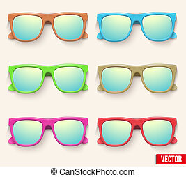 Set of Vintage Party sunglasses. Retro style.
