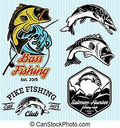 set of vintage patterns with emblems for fishing with pike,...