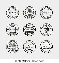 set of vintage postage stamps. vector illustration