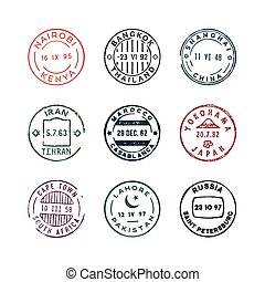 set of vintage postage stamps. vector illustration