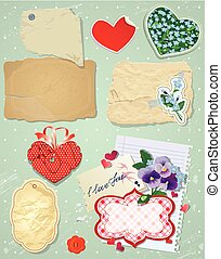Set of vintage postcards, vintage papers and labels in heart sha