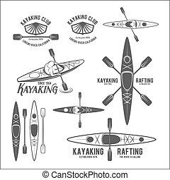 Set of vintage rafting labels - Set of vintage rafting,...