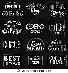 Set Of Vintage Retro Coffee Labels On Chalkboard