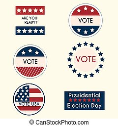 Set of vintage retro election badges and labels