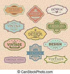 set of vintage retro frames vector illustration