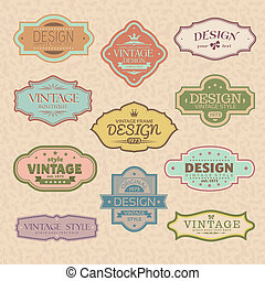 set of vintage retro frames vector illustration
