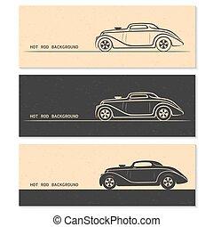 Set of vintage retro hot rod car silhouettes