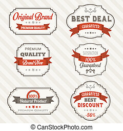 Set of vintage retro labels, illustration in vector format