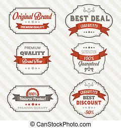 Set of vintage retro labels, illustration in vector format
