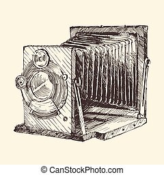 Set of Vintage, Retro, Old Camera, Hand Drawn