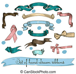 Set of vintage ribbons.
