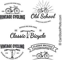 Set of vintage road bicycle labels, emblems, badges or logos isolated on white background. Handcrafted bicycle repair, service and classic bicycle club design elements. Isolated vintage bicycle side view. Vector.