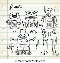 Set of vintage robot doodle