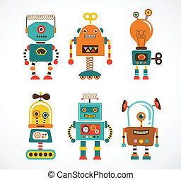 Set of vintage robot icons - Set of cute vintage robots