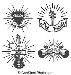 Set of vintage rock emblems