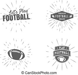 Set of vintage rugby and american football labels, emblems and logo designs with sunburst elements. Hand drawn monochrome style with lettering. Usa sports identity symbols. Vector illustration