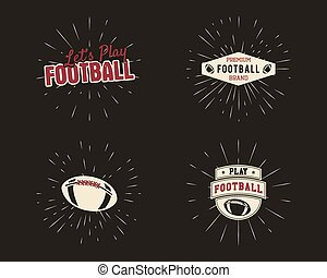 Set of vintage rugby and american football labels, emblems and logo designs with sunburst elements. Hand drawn style with lettering. Usa sports identity symbols. Vector illustration