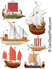 set of vintage sailboats