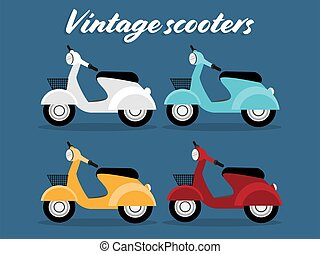 Set of Vintage scooters viewed from the side in white, blue, yellow and red color.