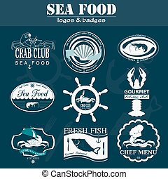Set of vintage sea food logos