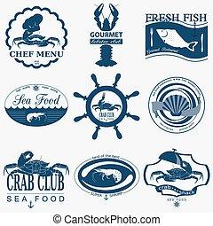Set of vintage sea food logos