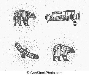 Set of Vintage silhouette hand drawn lettering slogans. Retro monochrome animal design with inspirational typography. Bear, eagle, airplane. Motivation text. Wild and free background. Sunburst. Vector