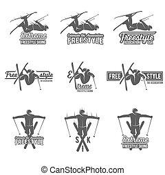Set of vintage skiing labels and design elements