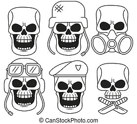Set Of Vintage Skull Design Elements. Monochrome Style.