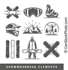 Set of vintage snowboarding labels