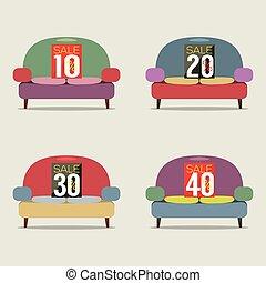 Set Of Vintage Sofas On Sale Vector Illustration