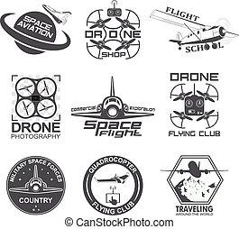 Set of vintage space, drone , aeronautics flight emblems, labels, badges