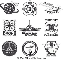 Set of vintage space, drone , aeronautics flight emblems, labels, badges