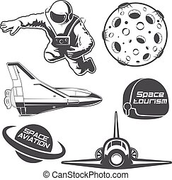 Set of vintage space elements.