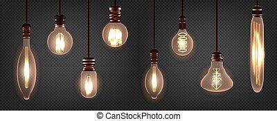 Set of vintage spiral Edison light bulb. Realistic retro ...