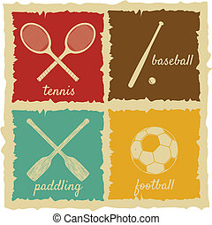Set of Vintage Sport Labels