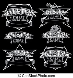 set of vintage sports all star crests with basketball theme