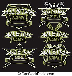 set of vintage sports all star crests with lacrosse theme