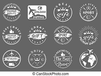 set of vintage, sports, gift emblems