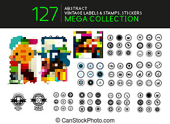 Set of vintage stamps lables tags vector icons - Collection...