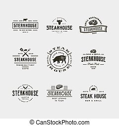 set of vintage steak house logos. vector illustration