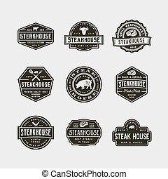set of vintage steak house logos. vector illustration