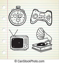 Set of vintage stuff doodle