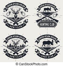 Set of Vintage style hunt club logos, labels, badges or emblems.