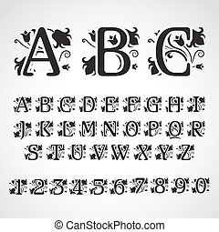 Set of vintage style initial letters.