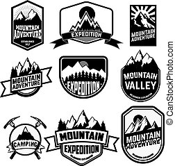 Set of vintage style mountains expedition labels and badges and design elements.
