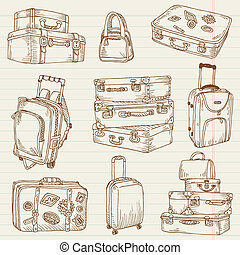 Set of Vintage Suitcases - for design and scrapbook in...