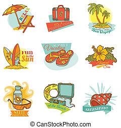 Set of Vintage Summer Labels - for design or scrapbook - in vector
