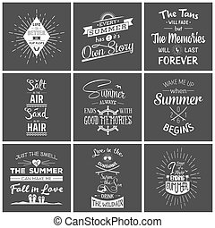 Set of vintage summer typographic quotes